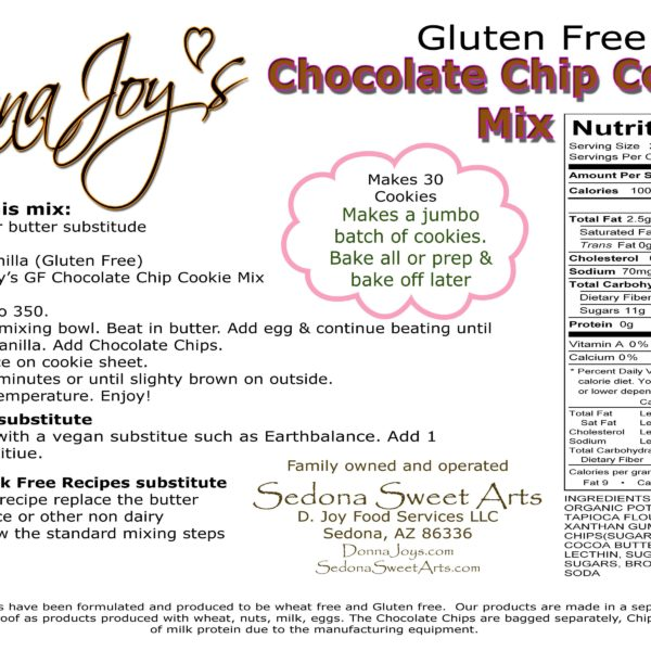 Gluten Free Chocolate Chip Cookie Mix Directions & Ingredients