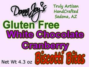 Donna Joy' s White Chocolate Cranberry Gluten Free Biscotti Bites