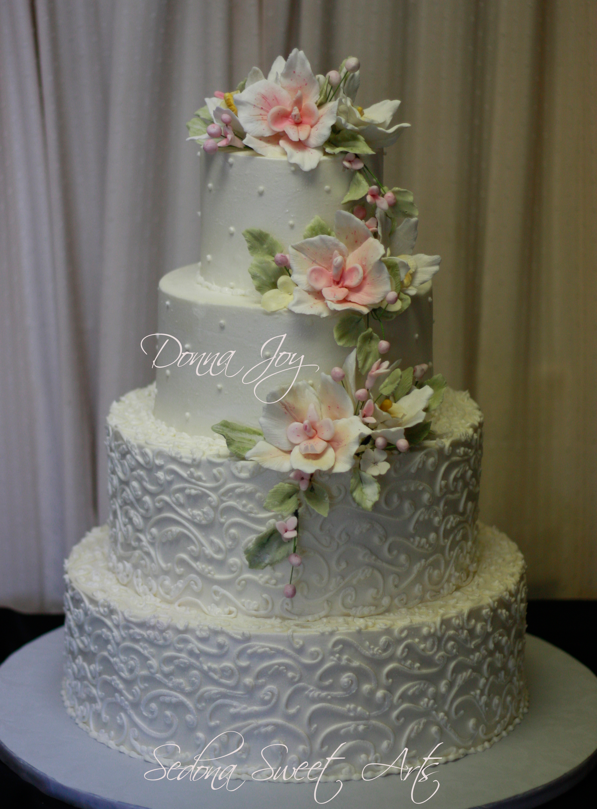 Buttercream Wedding Cake with hand sculpted Sugar Flowers By Donna Joy