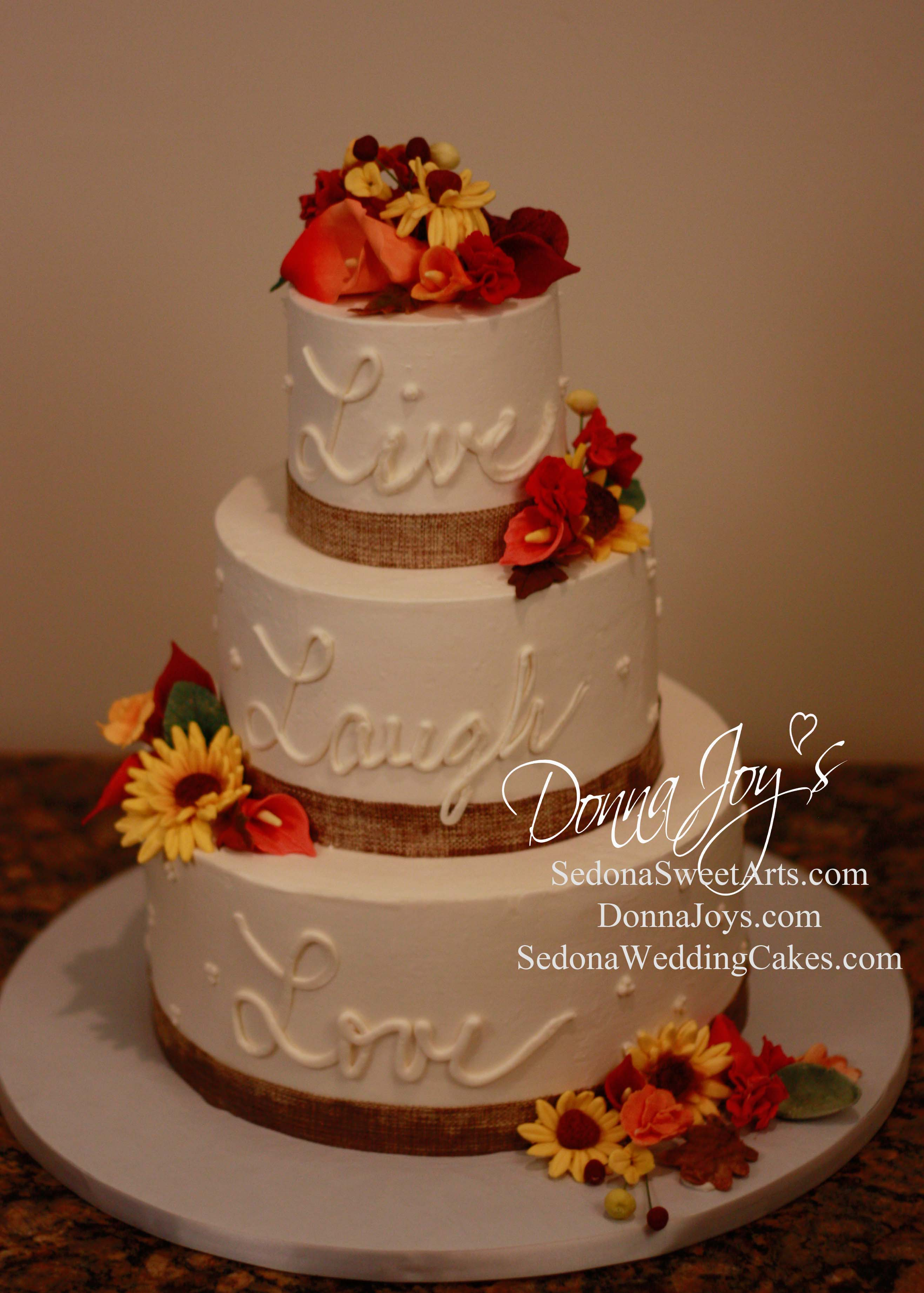 Live Laugh Love in Buttercream and Fall Sugar Flowers Sedona