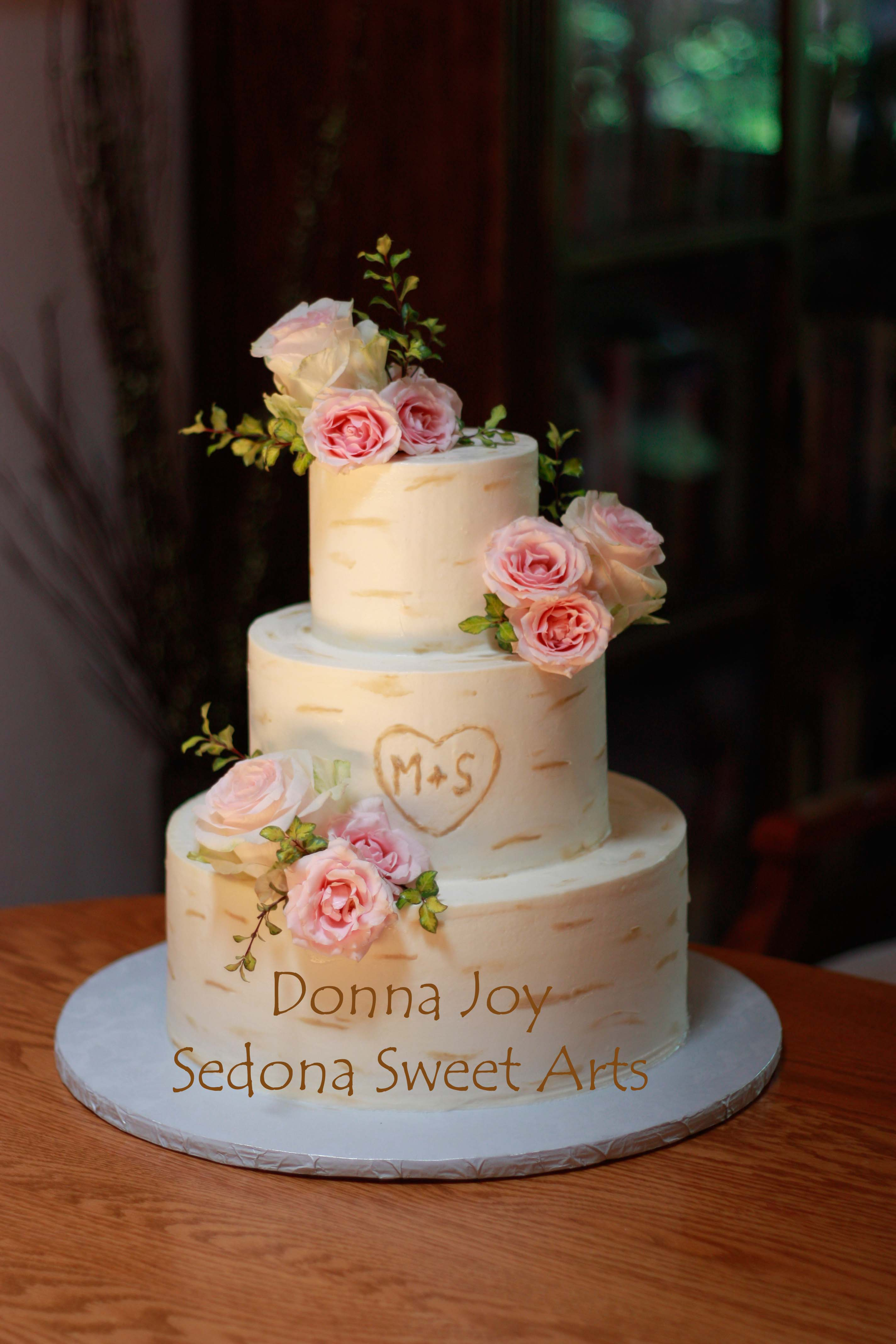 buttercream Bark Wedding cake Donna Joy Sedona AZ