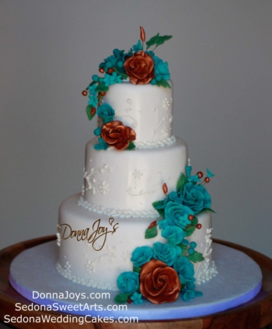 Fondant Wedding cake with copper accents