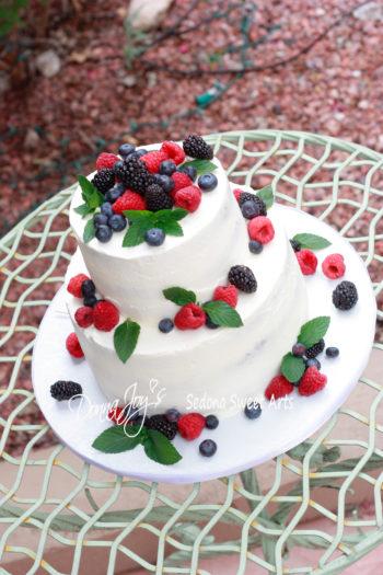 Semi-Naked with Berries Wedding Cake 2 tier Donna Joy ~ Sedona Sweet Arts