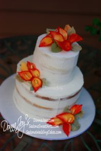 Naked Wedding Cakes with Hand-painted sugar Flame calla lilies by Pastry Chef Donna Joy ~ Sedona Sweet Arts.