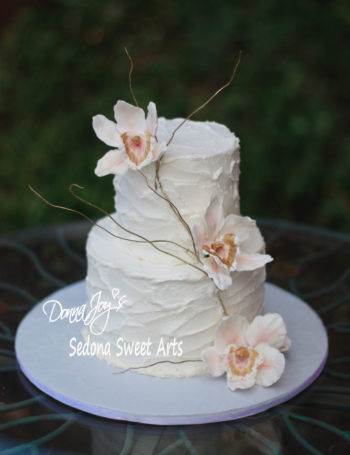 custom sculpted sugar orchids by Donna Joy Elopement Cake