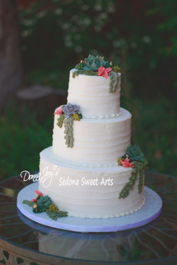 Ribbed Tuscan 3 tier with Buttercream succulents by Donna Joy ~ Sedona Sweet Arts