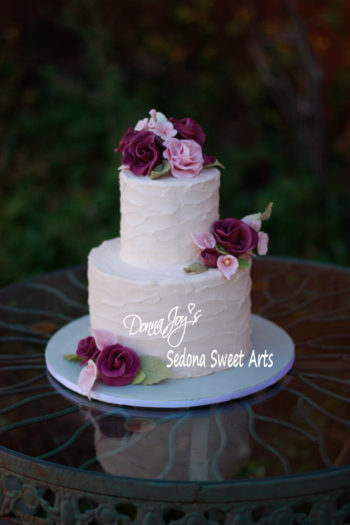 Tuscan waves Wedding cake with handcrafted sugar flowers by Donna Joy ~ Sedona Sweet Arts